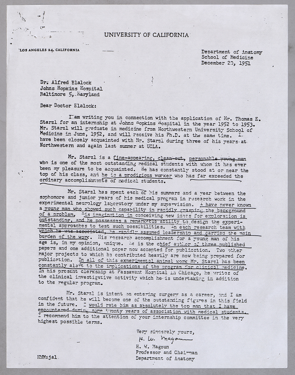 the official dr thomas e starzl web site dr horace w magoun dr magoun s letter of recommendation